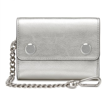Mulberry Wallet on Chain Silver Metallic Buffalo