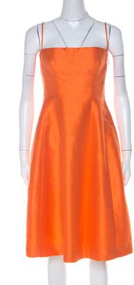 DSQUARED2 Orange Ramie Silk Paneled A Line Camisole Dress M