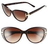 Tory Burch Women's 56Mm Cat Eye Sunglasses - Dark Tortoise
