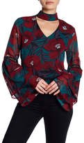 Lucca Couture Sophia Mock Neck Floral Blouse