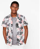 Express slim tropical floral short sleeve shirt