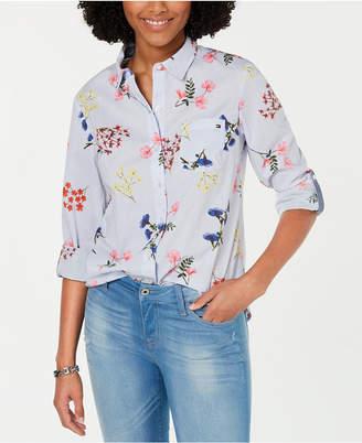 Tommy Hilfiger Cornell Roll-Tab-Sleeve Mixed-Print Shirt