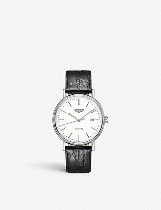 Longines L49214122 Presence stainless steel and croc-embossed leather watch