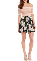 B. Darlin Off-The-Shoulder Lace to Floral Two-Piece Dress
