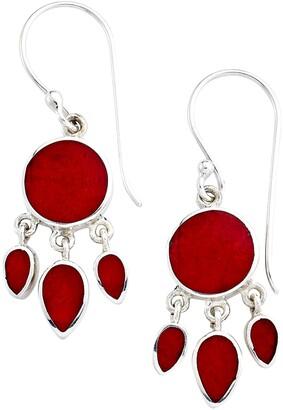 Samuel B. Sterling Silver Bezel Set Coral Chandelier Earrings