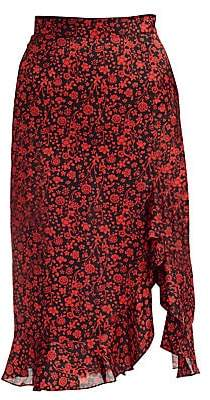 Maje Women's Javie Floral Flounce Skirt