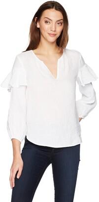 Velvet by Graham & Spencer Women's Tyra Linen Ruffle Longsleeve Top