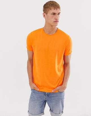 Brave Soul neon raw edge t-Shirt-Orange