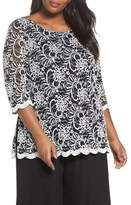 Alex Evenings Embroidered Tulle Blouse