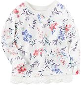 Carter's Girls 4-8 Long Sleeve Floral Lace Trim Top