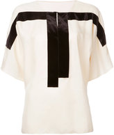 MS MIN contrast panel blouse