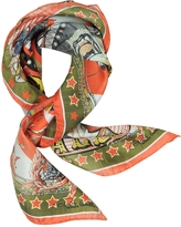 Roberto Cavalli Circus and Star Print Silk Square Scarf