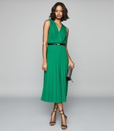 Reiss Mariona - Pleated Midi Dress in Green