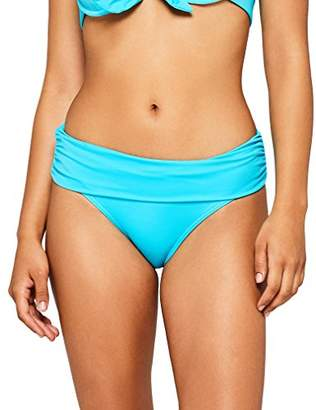 Iris & Lilly Women's Swimwear Bikini Bottoms with Contrast Colour Fold-Over Design,X-Small