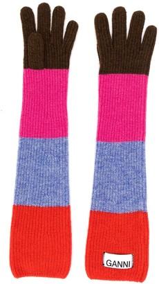 Ganni striped long gloves