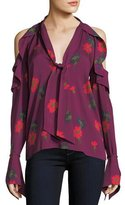 Tanya Taylor Adriene Spaced-Out Floral Cold-Shoulder Silk Blouse