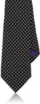 Ralph Lauren Purple Label Men's Geometric Textured Silk Necktie-BLACK
