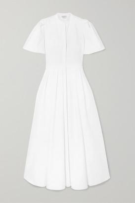Alexander McQueen Pleated Cotton-pique Dress - White