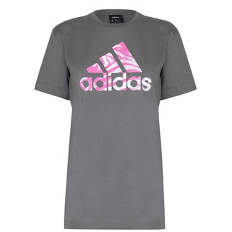 adidas Womens Zebra Logo T Shirt Crew Neck Tee Top Short Sleeve Cotton Regular Grey/White 12-14 (M)