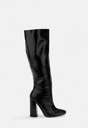 Missguided Black Croc Calf Height Heeled Boots