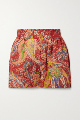 Etro Cipro Paisley-print Ramie Shorts - Red