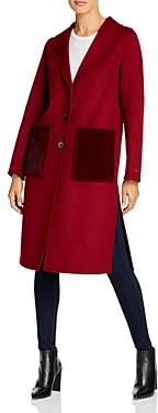 T Tahari Faux Mink-Pocket Coat