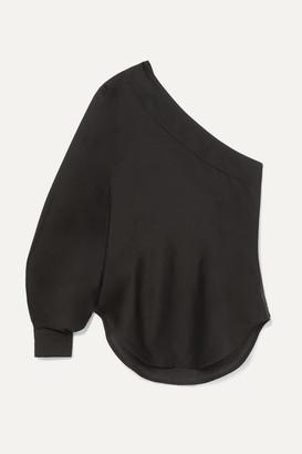 Bassike One-shoulder Cotton And Silk-blend Voile Blouse - Black