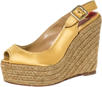 Christian Louboutin Gold Satin Menorca Espadrille Wedge Sandals Size 36