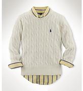 Ralph Lauren Boys' 2T-7 Cotton Cable Crewneck Sweater