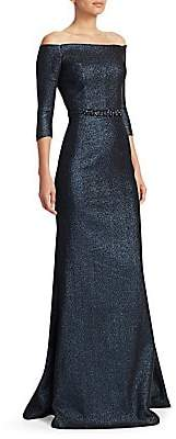 Teri Jon by Rickie Freeman Women's Off-The-Shoulder Stretch Metallic A-Line Gown