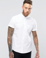 Asos Oxford Shirt In White With Short Sleeves In Regular Fit