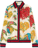Gucci Grosgrain-trimmed Printed Silk Crepe De Chine Blouse