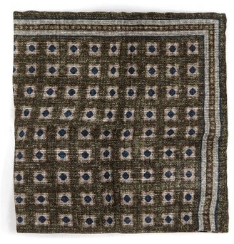 Brunello Cucinelli Tile-print Linen-blend Pocket Square - Green Multi