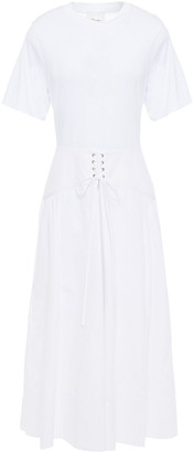 3.1 Phillip Lim Lace-up Cotton-poplin And Jersey Midi Dress