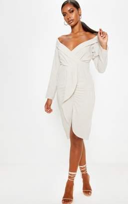 PrettyLittleThing Stone Linen Plunge Frill Detail Long Sleeve Midi Dress