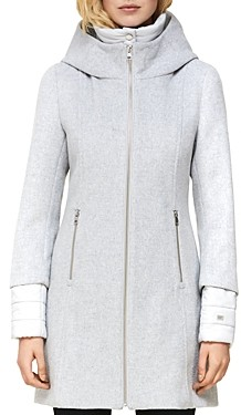 Soia & Kyo Rooney Hooded Mixed Media Coat