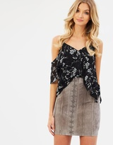 Bardot Suede Eyelet Skirt