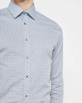 ZEBRAH Geo tile print cotton shirt