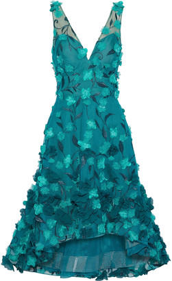 Marchesa Floral-appliqued Embroidered Tulle Dress