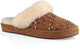 UGG Aira Tehuano Perforated Fur Trimmed Slippers