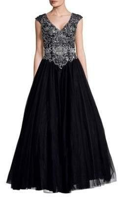 Mac Duggal Embellished V-Neck Dress