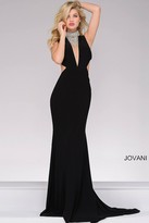 Jovani Jersey Fitted Prom Dress with Embellished Neck 36971