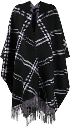 Alexander McQueen Oversized Checked Fringed Cape