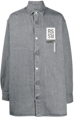 Raf Simons Logo Patch Oversized Denim Shirt