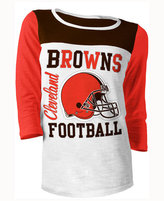 5th & Ocean Women's Cleveland Browns Three-Quarter Glitter T-Shirt