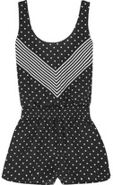 Stella McCartney Printed Cotton And Silk-blend Playsuit - Black