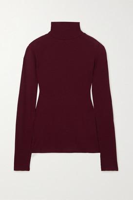 Ninety Percent + Net Sustain Kaye Ribbed Organic Cotton-jersey Turtleneck Top - Burgundy