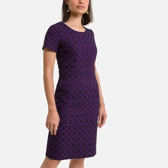 Anne Weyburn Jacquard Mid-Length Dress with Short Sleeves