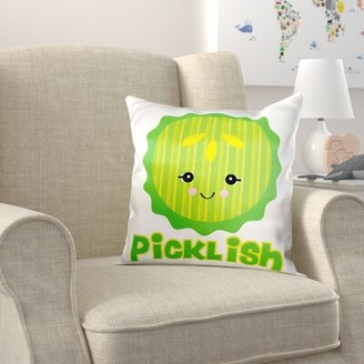 Zoomie Kids Dewitt Cute Kawaii Picklish Pickle Slice Pillow Cover