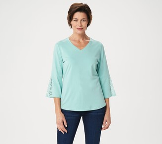 Denim & Co. V-Neck 3/4-Bell-Sleeve Top with Lace Trim